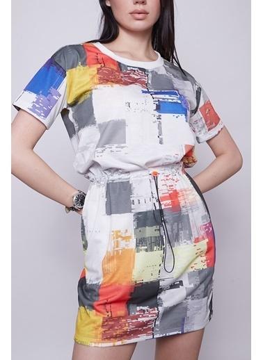 Jument Kadın Desenli Düşük Omuz Kısa Kol Yandan Cepli Beli Lastikli Elbise-Gökkuşağı  Renkli